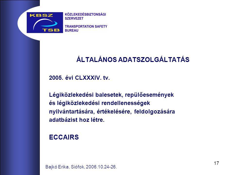 17 Bajkó Erika, Siófok, 2006.10.24-26. ÁLTALÁNOS ADATSZOLGÁLTATÁS 2005. évi CLXXXIV. tv. Légiközlekedési balesetek, repülőesemények és légiközlekedési