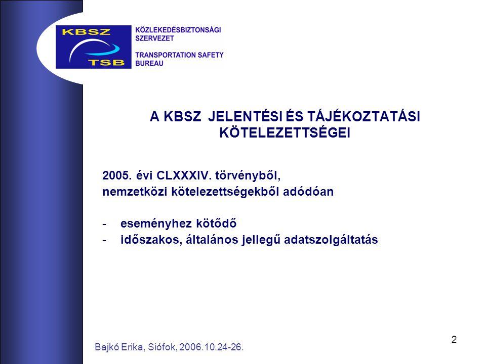 2 Bajkó Erika, Siófok, 2006.10.24-26. A KBSZ JELENTÉSI ÉS TÁJÉKOZTATÁSI KÖTELEZETTSÉGEI 2005.
