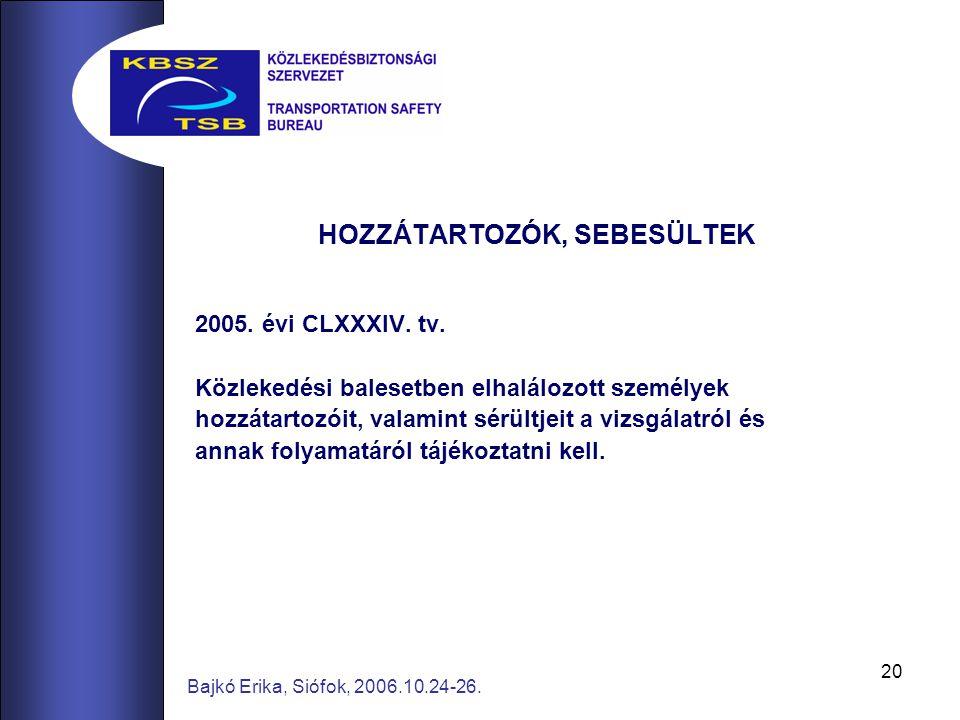 20 Bajkó Erika, Siófok, 2006.10.24-26. HOZZÁTARTOZÓK, SEBESÜLTEK 2005. évi CLXXXIV. tv. Közlekedési balesetben elhalálozott személyek hozzátartozóit,