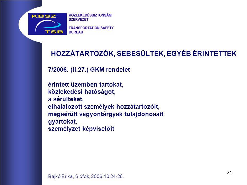 21 Bajkó Erika, Siófok, 2006.10.24-26. HOZZÁTARTOZÓK, SEBESÜLTEK, EGYÉB ÉRINTETTEK 7/2006. (II.27.) GKM rendelet érintett üzemben tartókat, közlekedés