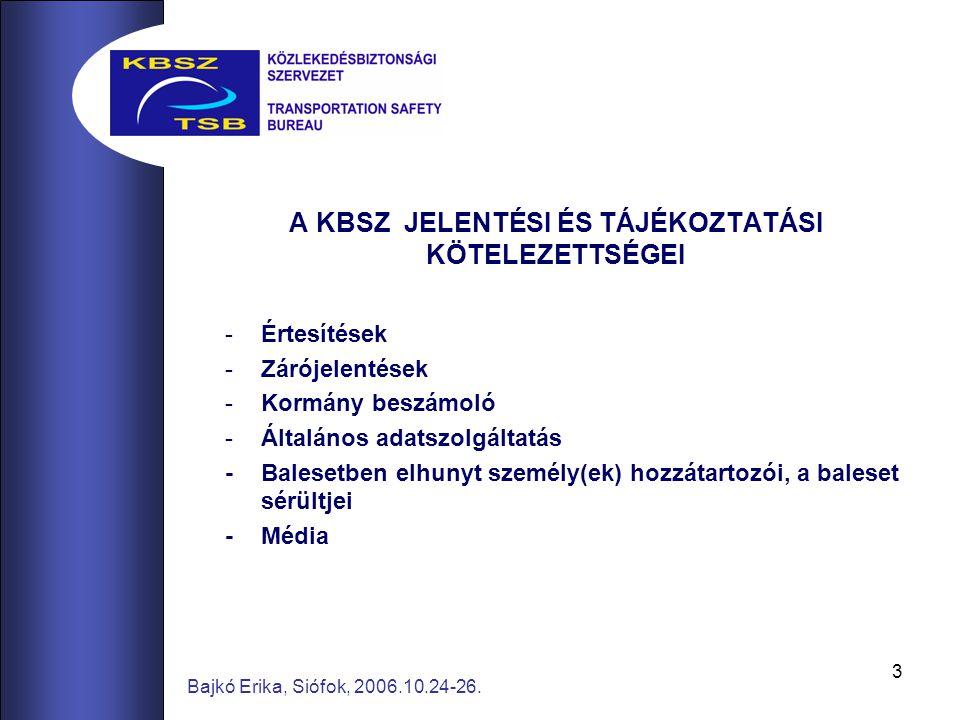 3 Bajkó Erika, Siófok, 2006.10.24-26. A KBSZ JELENTÉSI ÉS TÁJÉKOZTATÁSI KÖTELEZETTSÉGEI -Értesítések -Zárójelentések -Kormány beszámoló -Általános ada