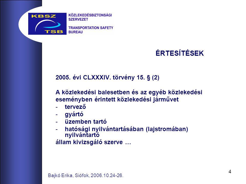 4 Bajkó Erika, Siófok, 2006.10.24-26. ÉRTESÍTÉSEK 2005. évi CLXXXIV. törvény 15. § (2) A közlekedési balesetben és az egyéb közlekedési eseményben éri