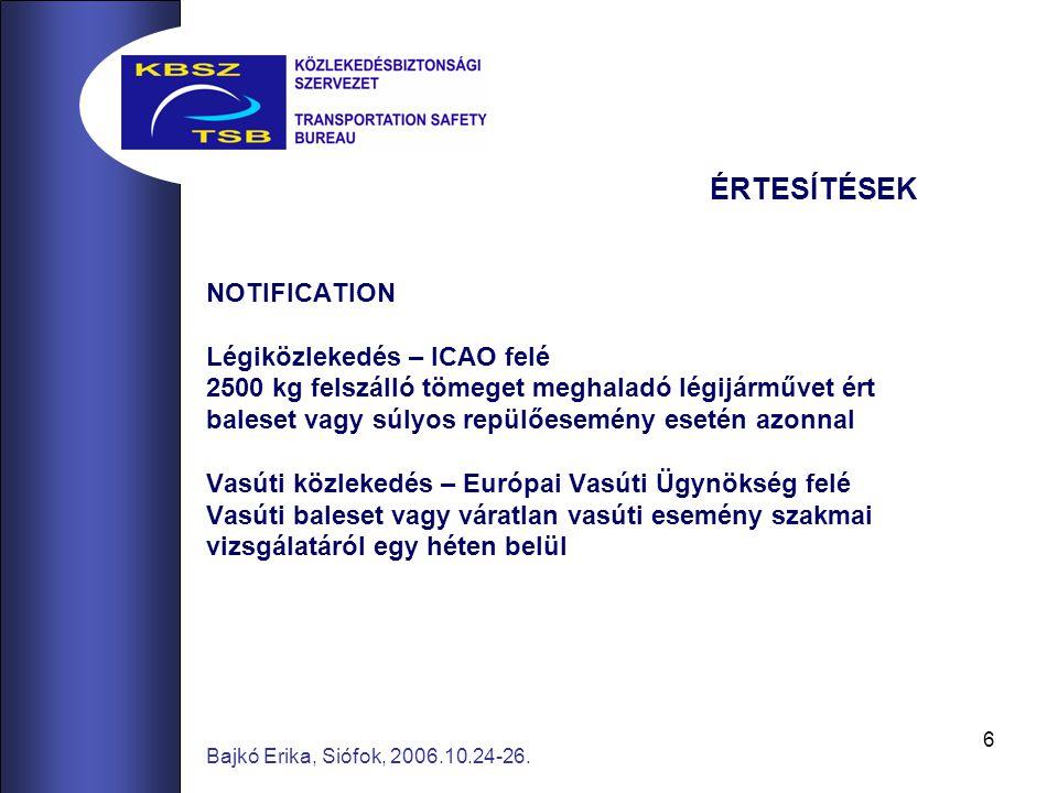 6 Bajkó Erika, Siófok, 2006.10.24-26. ÉRTESÍTÉSEK NOTIFICATION Légiközlekedés – ICAO felé 2500 kg felszálló tömeget meghaladó légijárművet ért baleset