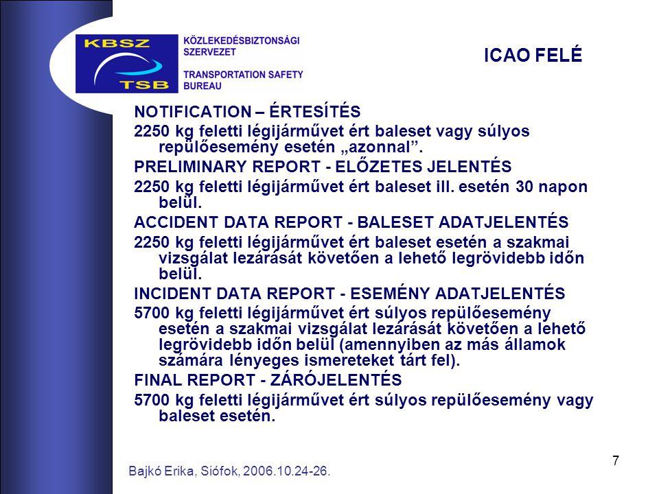 """7 Bajkó Erika, Siófok, 2006.10.24-26. ICAO FELÉ NOTIFICATION – ÉRTESÍTÉS 2250 kg feletti légijárművet ért baleset vagy súlyos repülőesemény esetén """"az"""