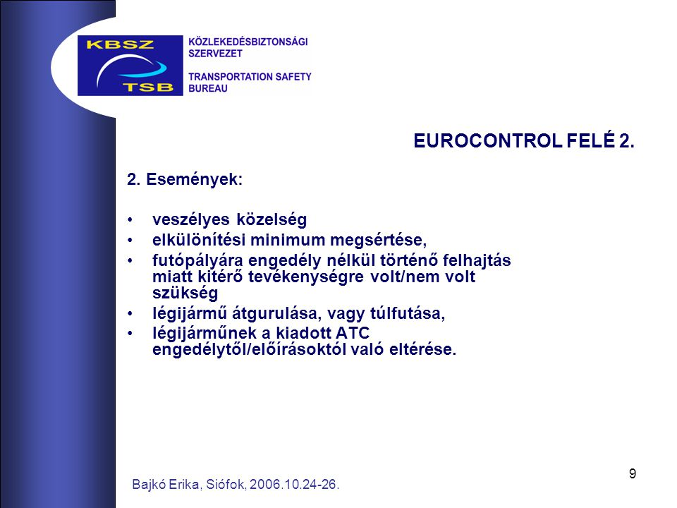 9 Bajkó Erika, Siófok, 2006.10.24-26. EUROCONTROL FELÉ 2. 2. Események: veszélyes közelség elkülönítési minimum megsértése, futópályára engedély nélkü