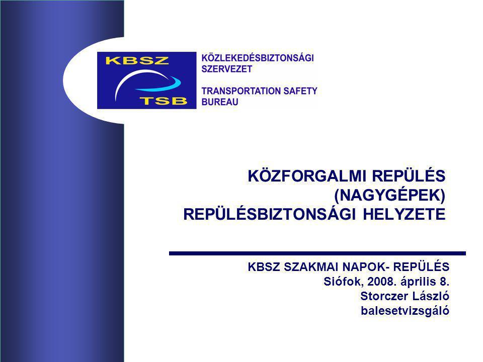 KÖZFORGALMI REPÜLÉS (NAGYGÉPEK) REPÜLÉSBIZTONSÁGI HELYZETE KBSZ SZAKMAI NAPOK- REPÜLÉS Siófok, 2008.