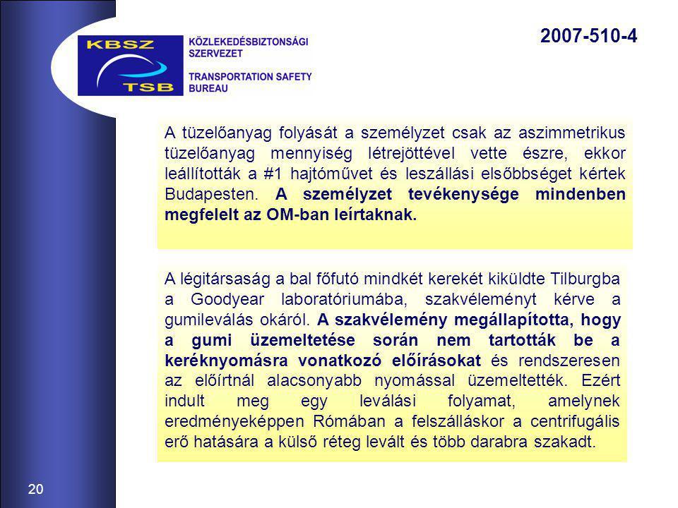 20 2007-510-4 A tüzelőanyag folyását a személyzet csak az aszimmetrikus tüzelőanyag mennyiség létrejöttével vette észre, ekkor leállították a #1 hajtóművet és leszállási elsőbbséget kértek Budapesten.