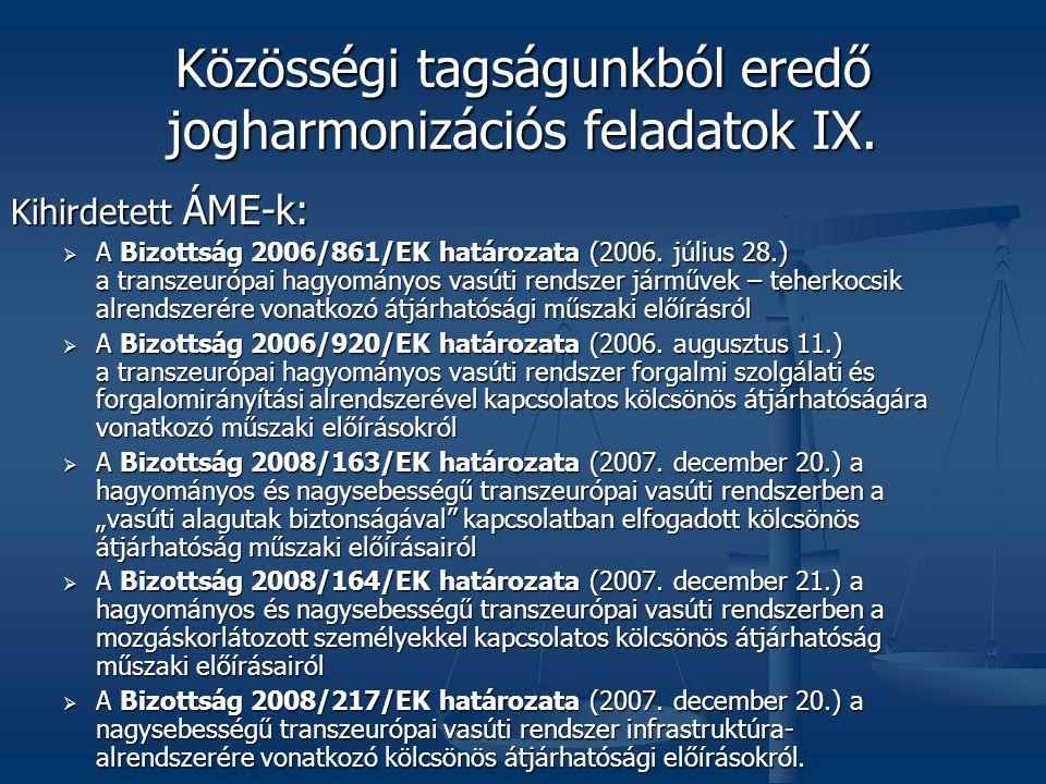 Közösségi tagságunkból eredő jogharmonizációs feladatok IX.
