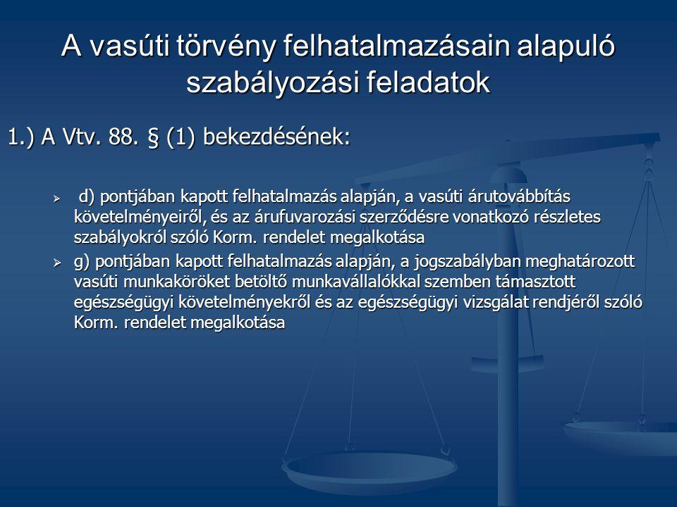 A vasúti törvény felhatalmazásain alapuló szabályozási feladatok 1.) A Vtv.