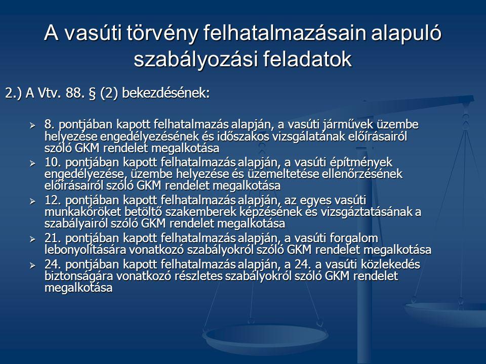 A vasúti törvény felhatalmazásain alapuló szabályozási feladatok 2.) A Vtv.