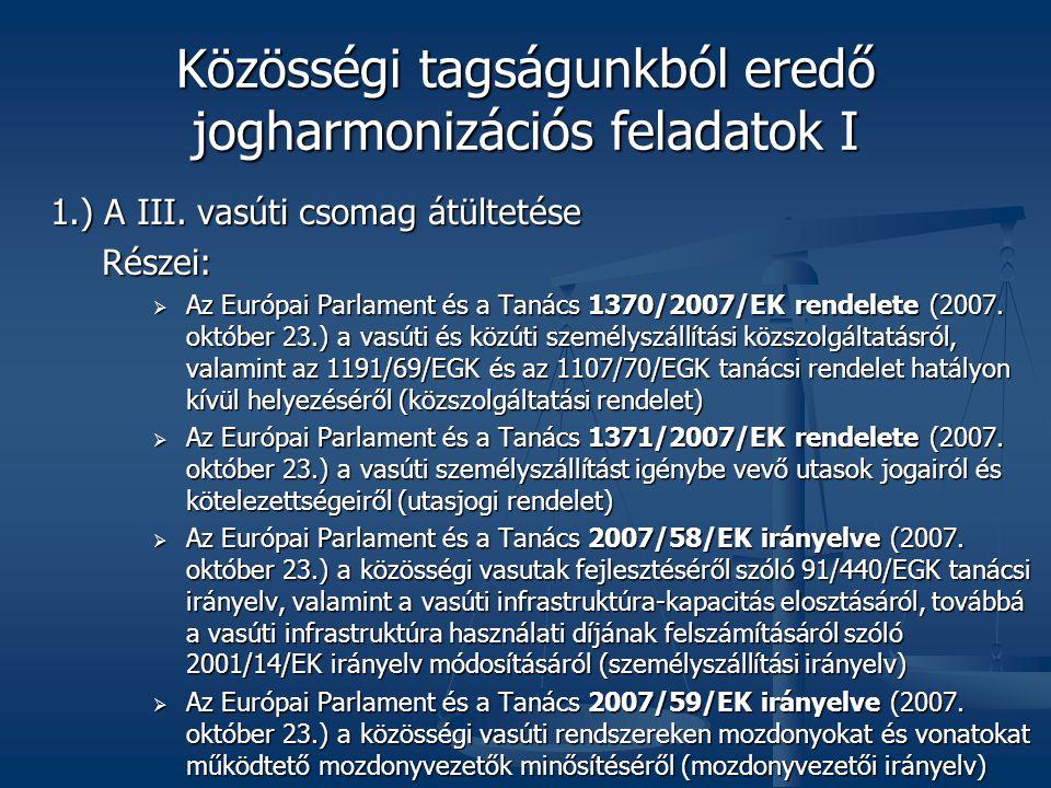 Közösségi tagságunkból eredő jogharmonizációs feladatok I 1.) A III.