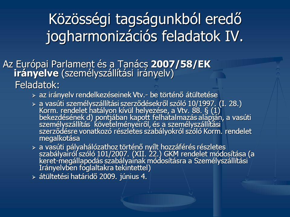Közösségi tagságunkból eredő jogharmonizációs feladatok IV.