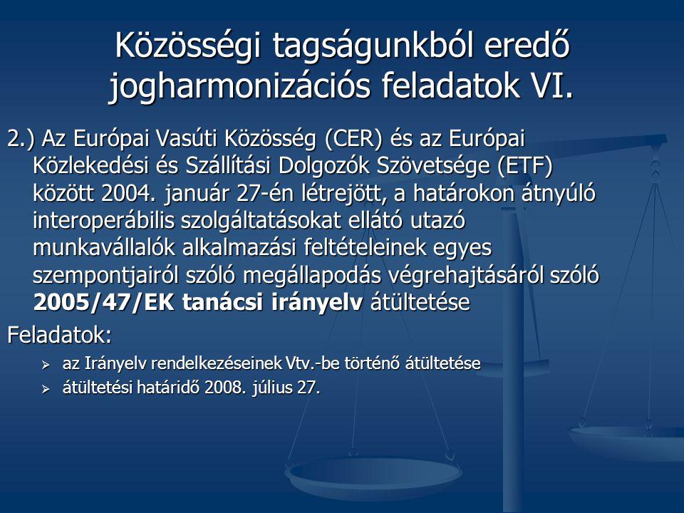 Közösségi tagságunkból eredő jogharmonizációs feladatok VI.