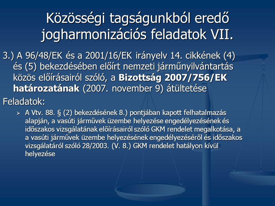 Közösségi tagságunkból eredő jogharmonizációs feladatok VII.