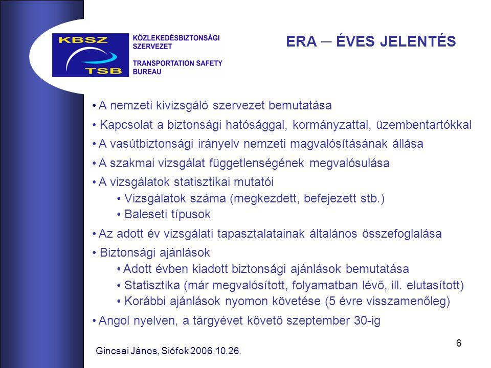 6 A nemzeti kivizsgáló szervezet bemutatása Kapcsolat a biztonsági hatósággal, kormányzattal, üzembentartókkal A vasútbiztonsági irányelv nemzeti magvalósításának állása A szakmai vizsgálat függetlenségének megvalósulása A vizsgálatok statisztikai mutatói Vizsgálatok száma (megkezdett, befejezett stb.) Baleseti típusok Az adott év vizsgálati tapasztalatainak általános összefoglalása Biztonsági ajánlások Adott évben kiadott biztonsági ajánlások bemutatása Statisztika (már megvalósított, folyamatban lévő, ill.