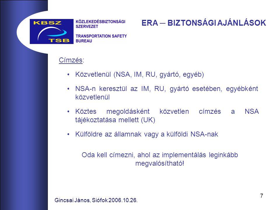 7 Címzés: Közvetlenül (NSA, IM, RU, gyártó, egyéb) NSA-n keresztül az IM, RU, gyártó esetében, egyébként közvetlenül Köztes megoldásként közvetlen címzés a NSA tájékoztatása mellett (UK) Külföldre az államnak vagy a külföldi NSA-nak Gincsai János, Siófok 2006.10.26.