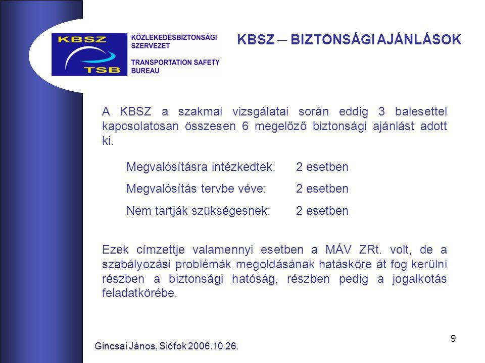 9 A KBSZ a szakmai vizsgálatai során eddig 3 balesettel kapcsolatosan összesen 6 megelőző biztonsági ajánlást adott ki.