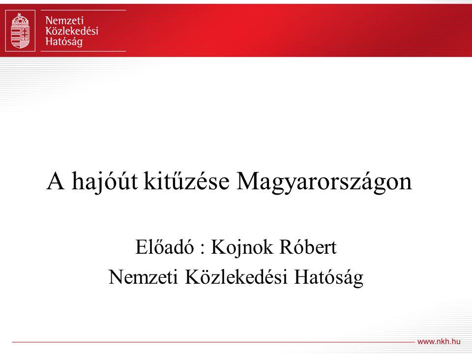 A hajóút kitűzése Magyarországon Előadó : Kojnok Róbert Nemzeti Közlekedési Hatóság