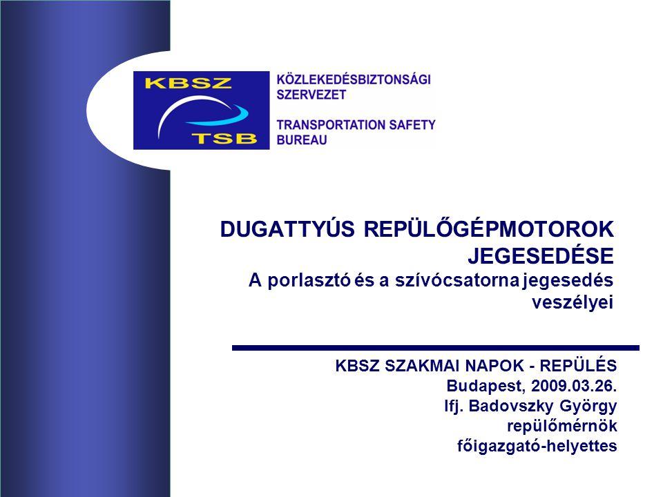 DUGATTYÚS REPÜLŐGÉPMOTOROK JEGESEDÉSE A porlasztó és a szívócsatorna jegesedés veszélyei KBSZ SZAKMAI NAPOK - REPÜLÉS Budapest, 2009.03.26.