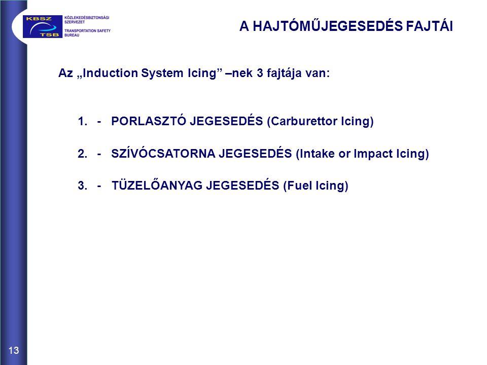 """13 A HAJTÓMŰJEGESEDÉS FAJTÁI Az """"Induction System Icing –nek 3 fajtája van: 1.- PORLASZTÓ JEGESEDÉS (Carburettor Icing) 2.- SZÍVÓCSATORNA JEGESEDÉS (Intake or Impact Icing) 3.- TÜZELŐANYAG JEGESEDÉS (Fuel Icing)"""