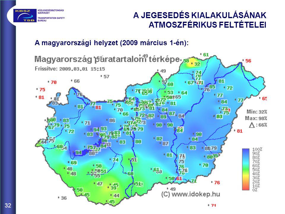 32 A JEGESEDÉS KIALAKULÁSÁNAK ATMOSZFÉRIKUS FELTÉTELEI A magyarországi helyzet (2009 március 1-én):