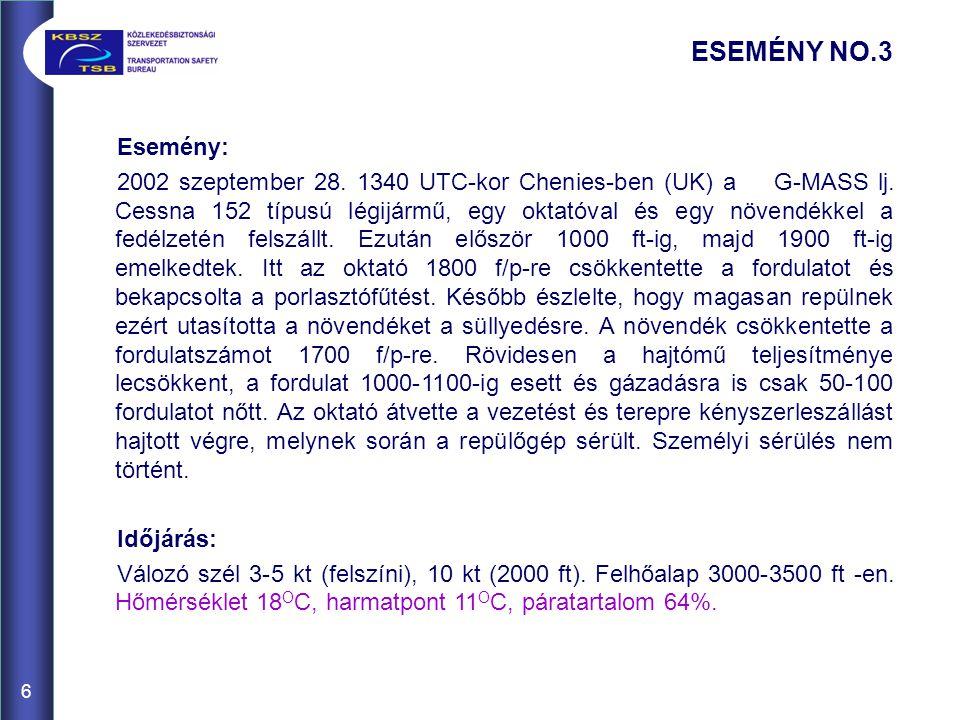 6 ESEMÉNY NO.3 Esemény: 2002 szeptember 28.1340 UTC-kor Chenies-ben (UK) a G-MASS lj.