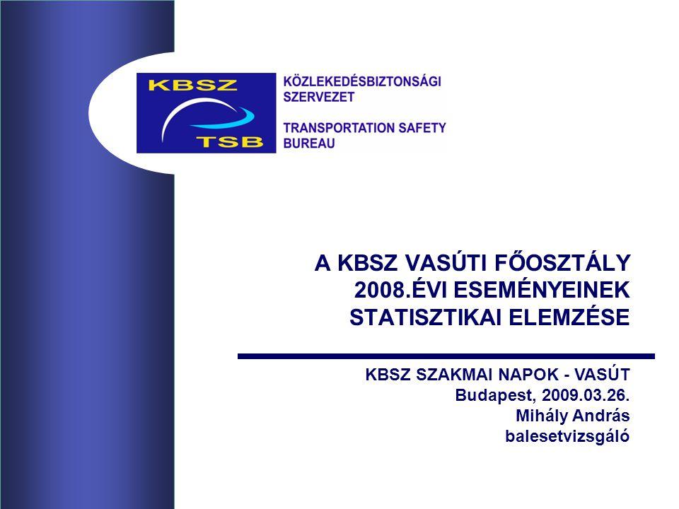 A KBSZ VASÚTI FŐOSZTÁLY 2008.ÉVI ESEMÉNYEINEK STATISZTIKAI ELEMZÉSE KBSZ SZAKMAI NAPOK - VASÚT Budapest, 2009.03.26. Mihály András balesetvizsgáló