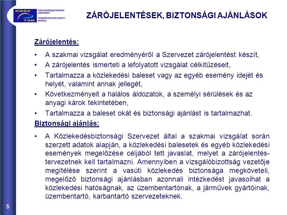 6 ZÁRÓJELENTÉSEK, BIZTONSÁGI AJÁNLÁSOK 2008.