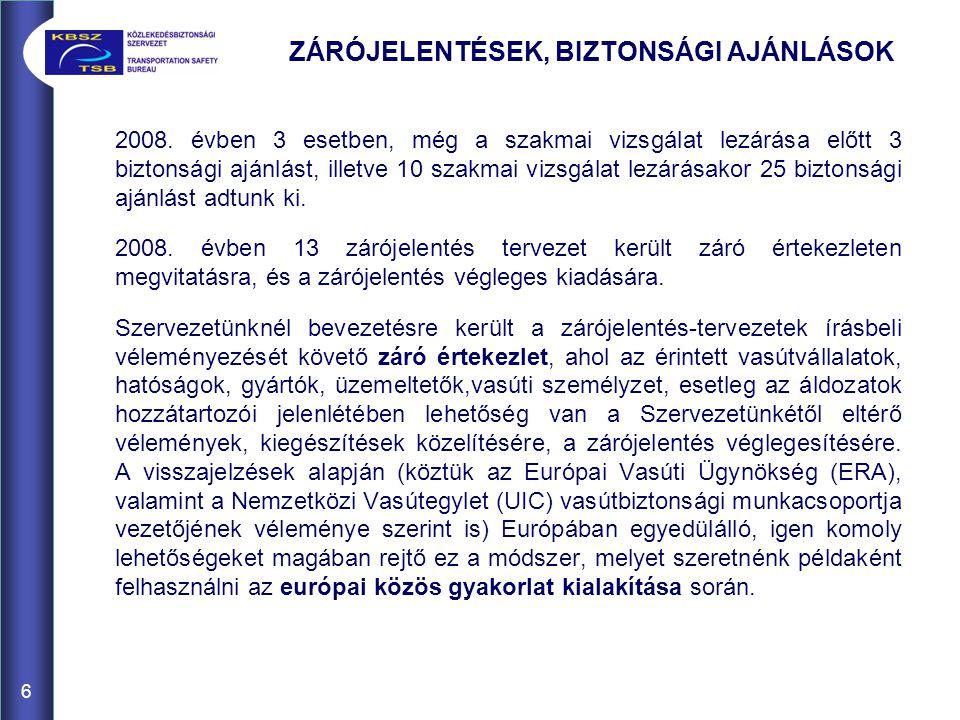 6 ZÁRÓJELENTÉSEK, BIZTONSÁGI AJÁNLÁSOK 2008. évben 3 esetben, még a szakmai vizsgálat lezárása előtt 3 biztonsági ajánlást, illetve 10 szakmai vizsgál
