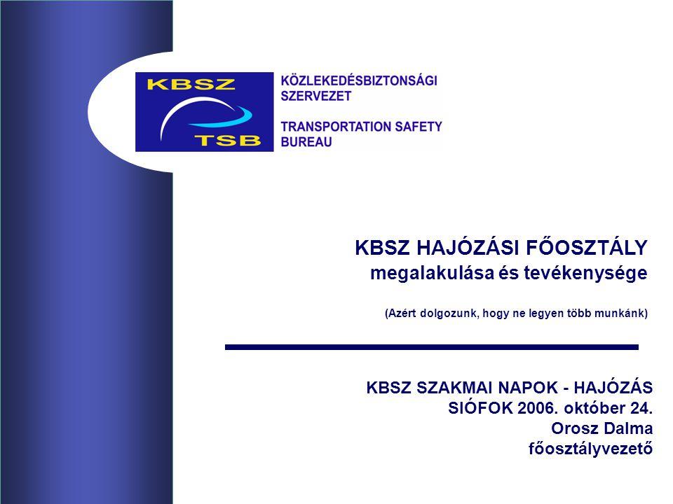 KBSZ SZAKMAI NAPOK - HAJÓZÁS SIÓFOK 2006. október 24. Orosz Dalma főosztályvezető KBSZ HAJÓZÁSI FŐOSZTÁLY megalakulása és tevékenysége (Azért dolgozun