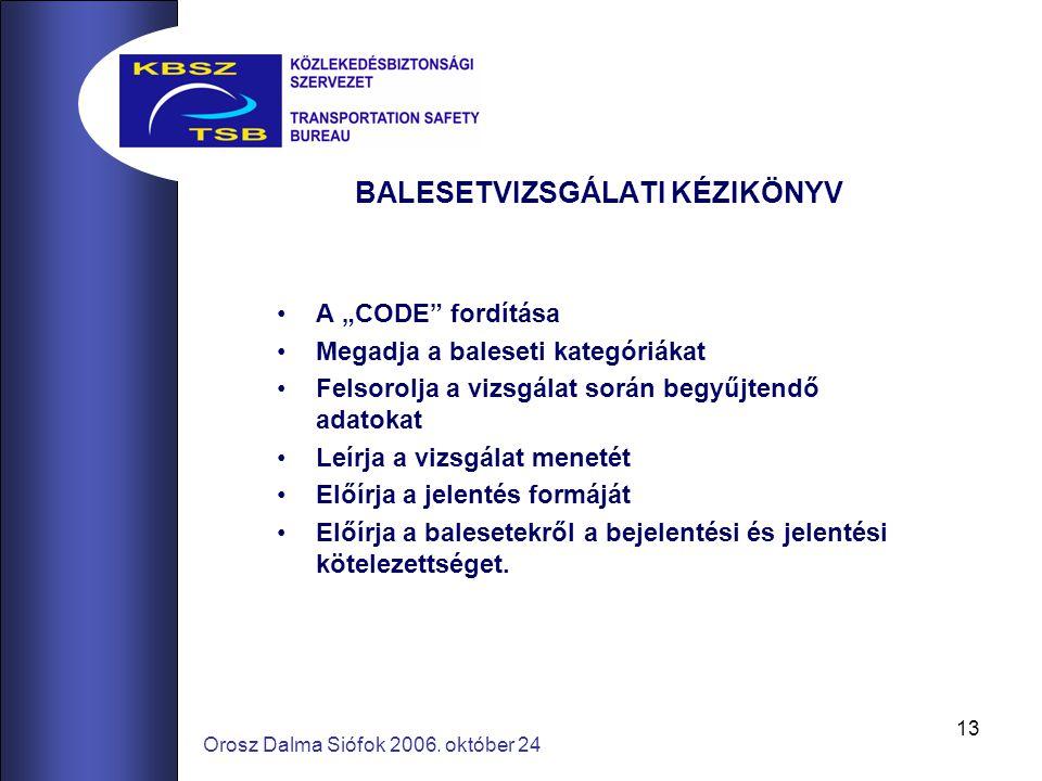 """13 Orosz Dalma Siófok 2006. október 24 BALESETVIZSGÁLATI KÉZIKÖNYV A """"CODE"""" fordítása Megadja a baleseti kategóriákat Felsorolja a vizsgálat során beg"""