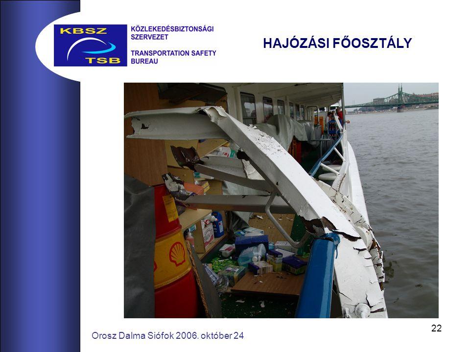 22 Orosz Dalma Siófok 2006. október 24 HAJÓZÁSI FŐOSZTÁLY