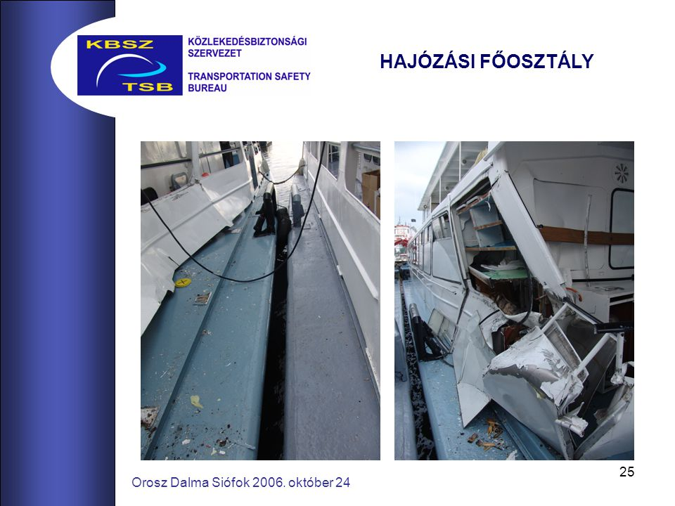 25 Orosz Dalma Siófok 2006. október 24 HAJÓZÁSI FŐOSZTÁLY