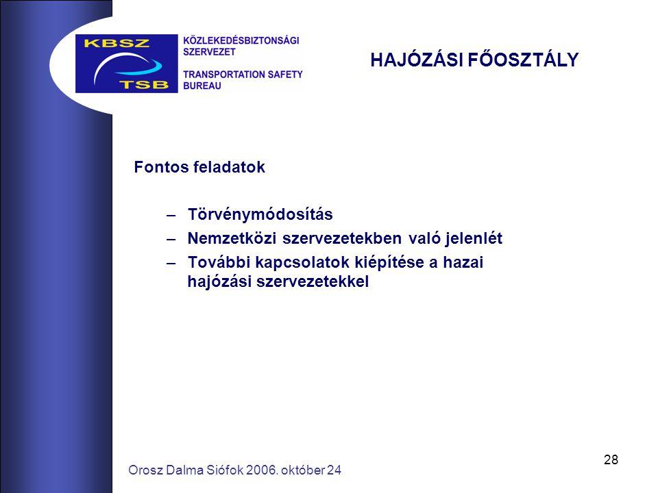 28 Orosz Dalma Siófok 2006. október 24 HAJÓZÁSI FŐOSZTÁLY Fontos feladatok –Törvénymódosítás –Nemzetközi szervezetekben való jelenlét –További kapcsol