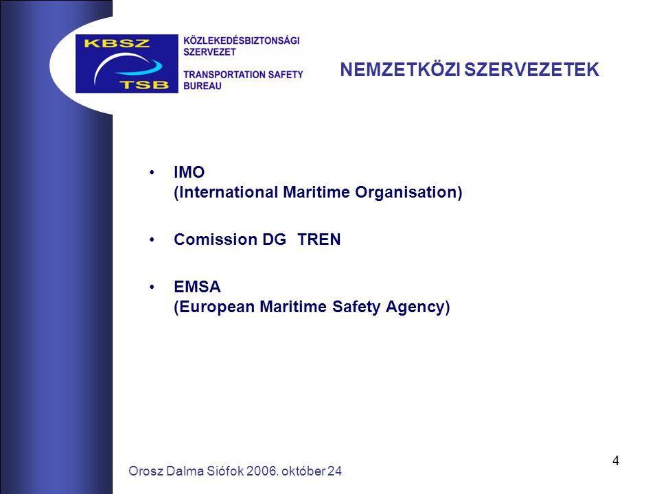 4 Orosz Dalma Siófok 2006. október 24 NEMZETKÖZI SZERVEZETEK IMO (International Maritime Organisation) Comission DG TREN EMSA (European Maritime Safet