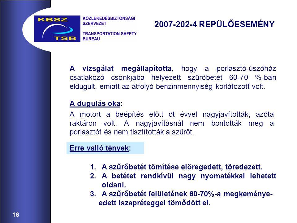 16 2007-202-4 REPÜLŐESEMÉNY A dugulás oka: A motort a beépítés előtt öt évvel nagyjavították, azóta raktáron volt. A nagyjavításnál nem bontották meg