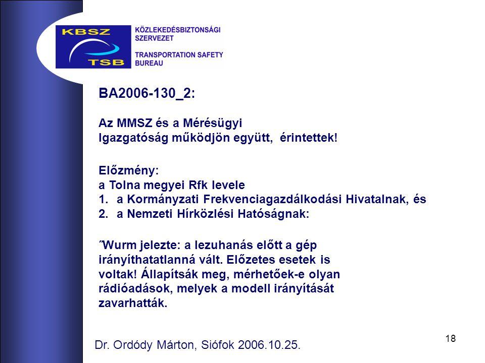 18 BA2006-130_2: Az MMSZ és a Mérésügyi Igazgatóság működjön együtt, érintettek.