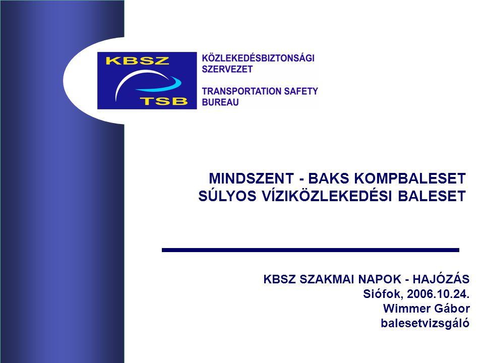 KBSZ SZAKMAI NAPOK - HAJÓZÁS Siófok, 2006.10.24. Wimmer Gábor balesetvizsgáló MINDSZENT - BAKS KOMPBALESET SÚLYOS VÍZIKÖZLEKEDÉSI BALESET