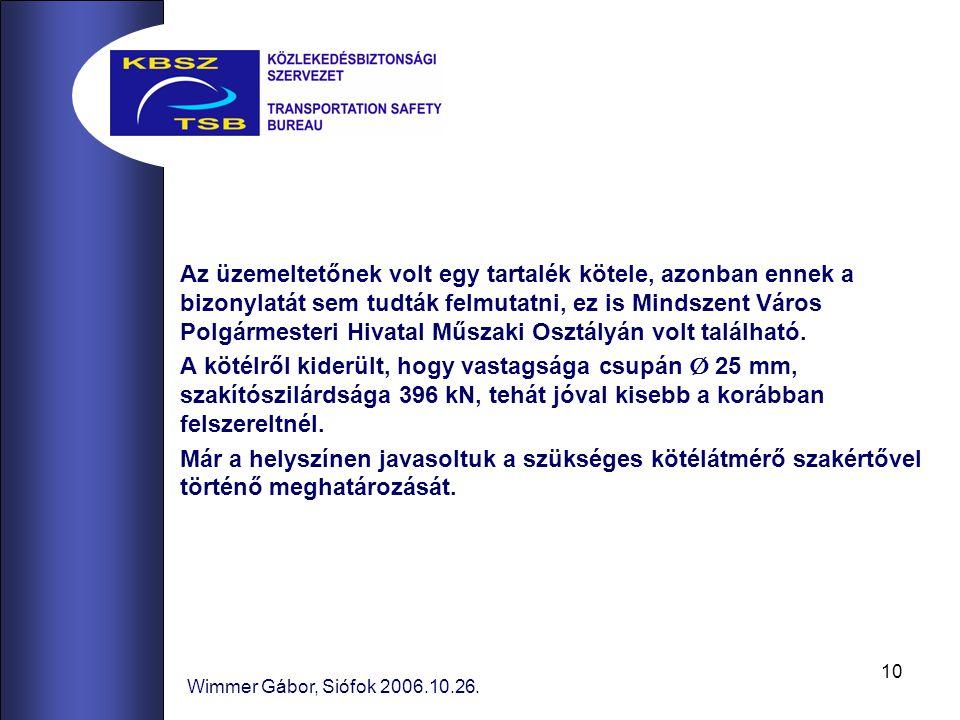 10 Wimmer Gábor, Siófok 2006.10.26. Az üzemeltetőnek volt egy tartalék kötele, azonban ennek a bizonylatát sem tudták felmutatni, ez is Mindszent Váro