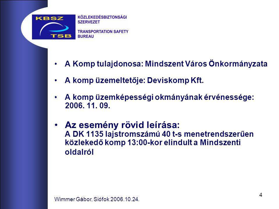 4 Wimmer Gábor, Siófok 2006.10.24. A Komp tulajdonosa: Mindszent Város Önkormányzata A komp üzemeltetője: Deviskomp Kft. A komp üzemképességi okmányán
