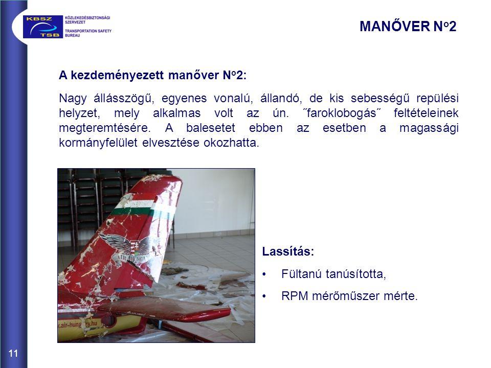 11 A kezdeményezett manőver N o 2: Nagy állásszögű, egyenes vonalú, állandó, de kis sebességű repülési helyzet, mely alkalmas volt az ún. ˝faroklobogá