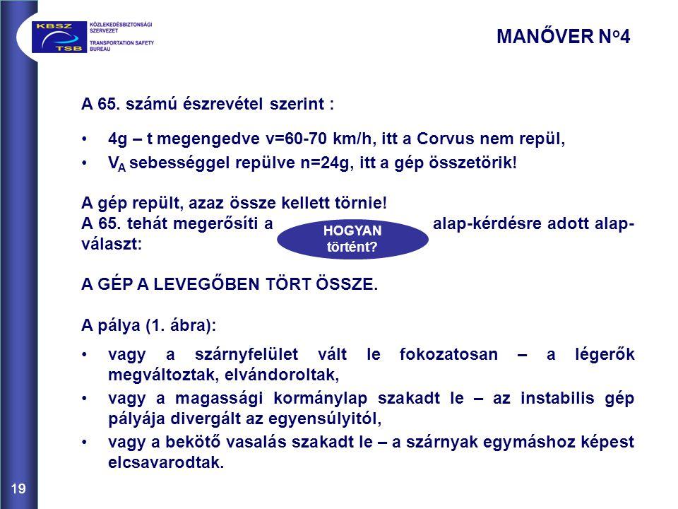 19 A 65. számú észrevétel szerint : 4g – t megengedve v=60-70 km/h, itt a Corvus nem repül, V A sebességgel repülve n=24g, itt a gép összetörik! A gép