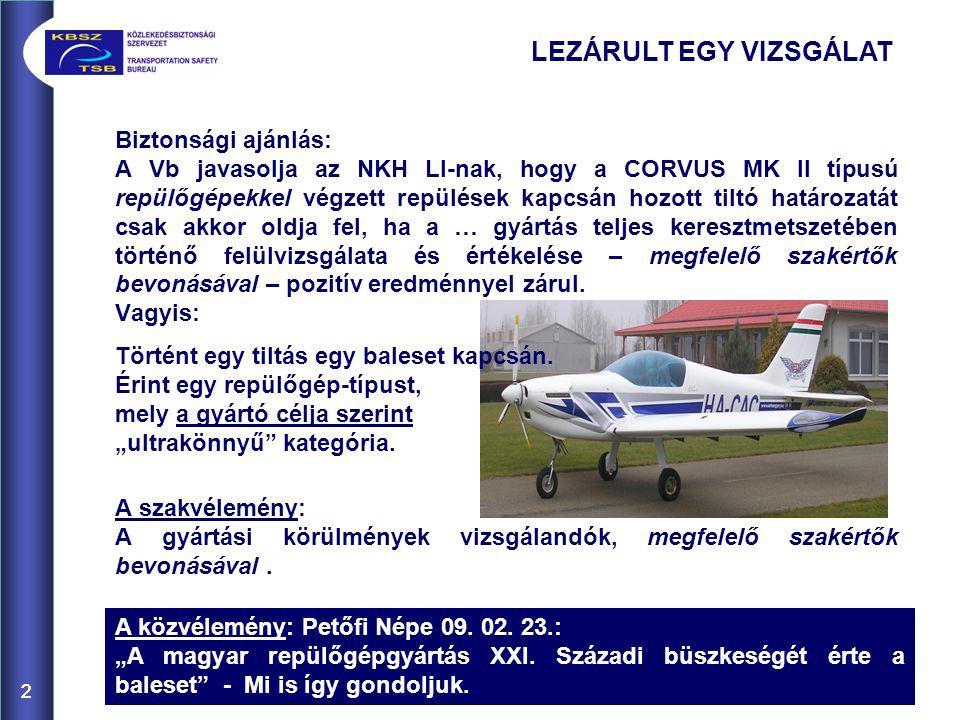 22 Biztonsági ajánlás: A Vb javasolja az NKH LI-nak, hogy a CORVUS MK II típusú repülőgépekkel végzett repülések kapcsán hozott tiltó határozatát csak