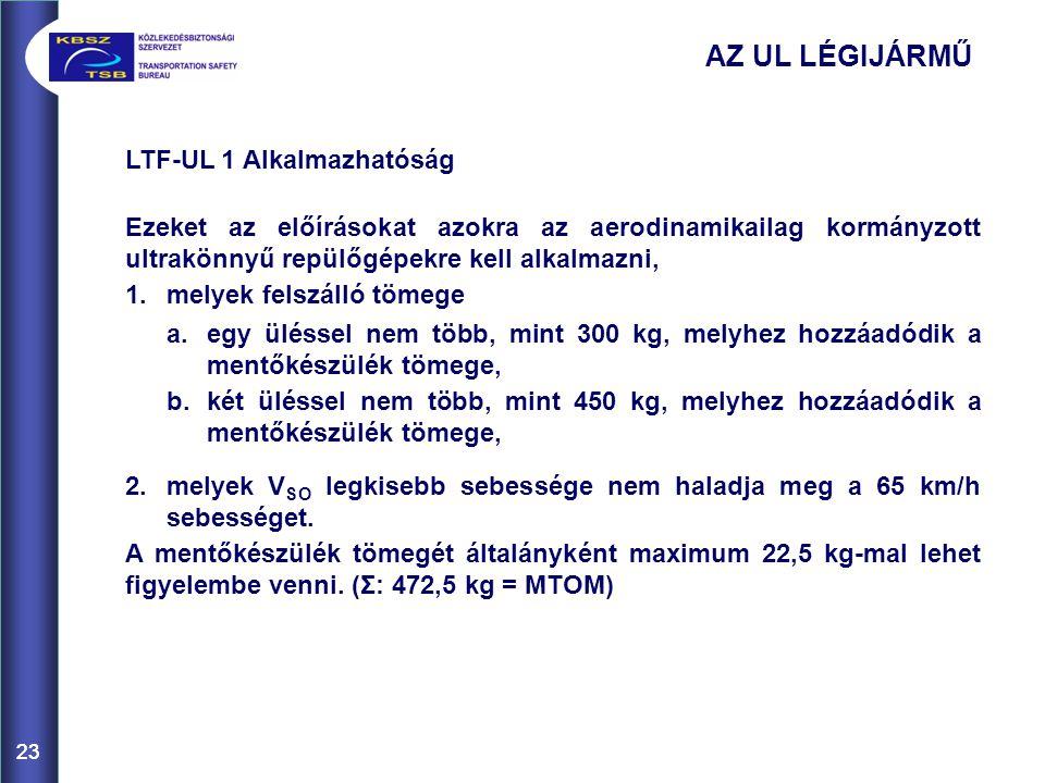 23 LTF-UL 1 Alkalmazhatóság Ezeket az előírásokat azokra az aerodinamikailag kormányzott ultrakönnyű repülőgépekre kell alkalmazni, 1. melyek felszáll