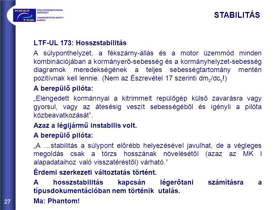 27 LTF-UL 173: Hosszstabilitás A súlyponthelyzet, a fékszárny-állás és a motor üzemmód minden kombinációjában a kormányerő-sebesség és a kormányhelyze