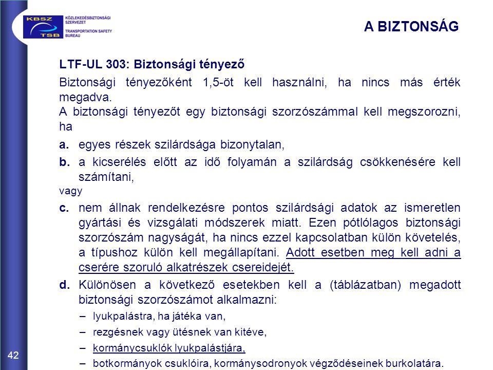 42 LTF-UL 303: Biztonsági tényező Biztonsági tényezőként 1,5-öt kell használni, ha nincs más érték megadva. A biztonsági tényezőt egy biztonsági szorz