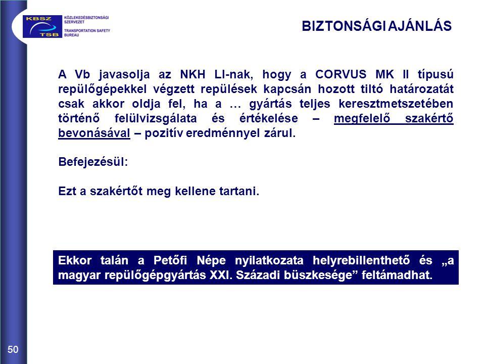 50 A Vb javasolja az NKH LI-nak, hogy a CORVUS MK II típusú repülőgépekkel végzett repülések kapcsán hozott tiltó határozatát csak akkor oldja fel, ha