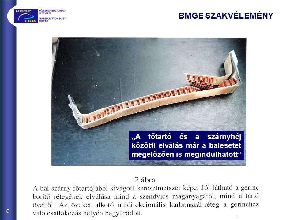 """6 BMGE SZAKVÉLEMÉNY """"A főtartó és a szárnyhéj közötti elválás már a balesetet megelőzően is megindulhatott"""""""