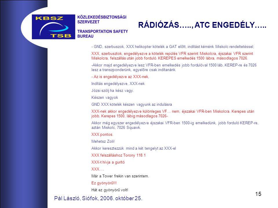 15 Pál László, Siófok, 2006. október 25. RÁDIÓZÁS….., ATC ENGEDÉLY…..