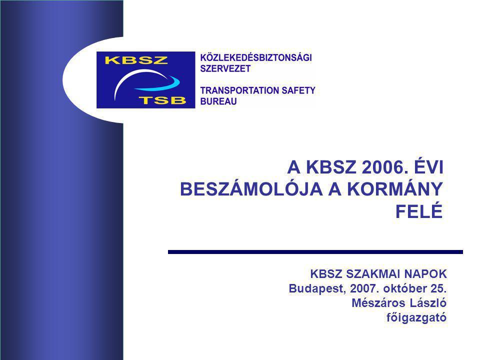 A KBSZ 2006. ÉVI BESZÁMOLÓJA A KORMÁNY FELÉ KBSZ SZAKMAI NAPOK Budapest, 2007. október 25. Mészáros László főigazgató